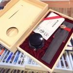 日本 Platinum 白金 出雲 竹編 茣蓙目 18K金 鋼筆(紅樺色)