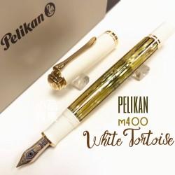 德國 Pelikan 百利金 M400 白色 白烏龜 white tortoise 玳瑁紋桿 14K 鋼筆