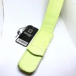 德國 online 小牛皮 二支裝皮質壓紋 筆袋(蘋果綠)