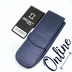 德國 online 小牛皮 二支裝皮質壓紋 筆袋(藍色)