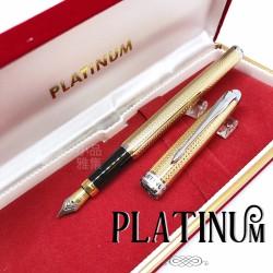 日本 Platinum 白金 復古鍍金雕花 鋼筆(PK-1200)
