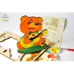 烏克蘭UGEARS 木製自我推進模型 - 4 Kids 益智著色系列 著色小熊熊 Bear