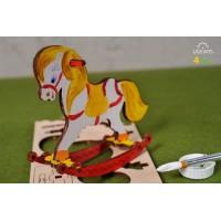 烏克蘭UGEARS 木製自我推進模型 - 4 Kids 益智著色系列 著色搖搖小馬 Horse Swing