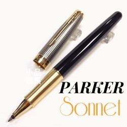 派克 Parker 新款Sonnet 卓爾系列 光影格紋 鋼珠筆(黑桿銀格筆蓋)