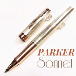 派克 Parker 新款Sonnet 卓爾系列 玫瑰金純銀格 鋼珠筆