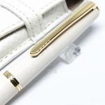 日本 Pilot 百樂 14K金尖 Lady White 淑女白 楓葉 鋼筆+真皮筆套 禮盒組