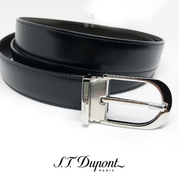 法國 S.T. DUPONT 都彭 圓頭簍空 鈀金 商務雙面皮帶 6920120
