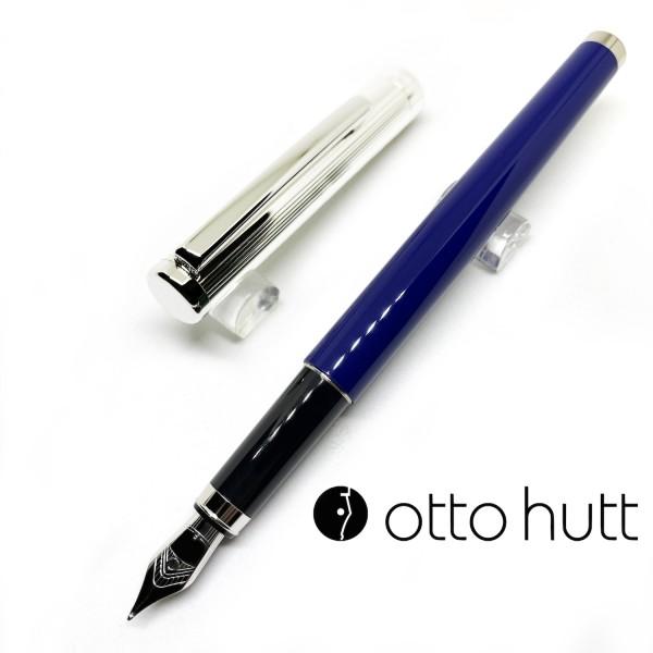 德國 OTTO HUTT 奧托赫特 Design01 925純銀筆蓋 藍桿鋼筆