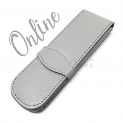 德國 online 小牛皮 二支裝皮質壓紋 筆袋(灰色)