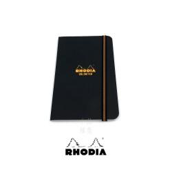 法國 RHODIA 黑色 9x14cm 束帶筆記本 方格內頁 (118058C 黑色)