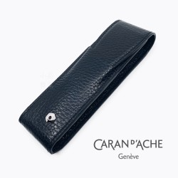 瑞士 卡達 CARAN D'ACHE LEMAN 利曼系列 小牛皮 兩支裝 筆套(黑色)