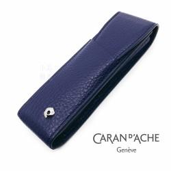 瑞士 卡達 CARAN D'ACHE LEMAN 利曼系列 小牛皮 兩支裝 筆套(藍紫色)