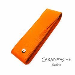 瑞士 卡達 CARAN D'ACHE LEMAN 利曼系列 小牛皮 兩支裝 筆套(橘色)