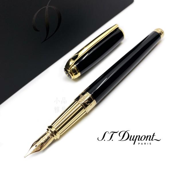 法國 S.T. DUPONT 都彭 LINE D Black lacquer & Gold 14K鋼筆(新款 LARGE系列)