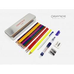 瑞士卡達 Caran d'Ache 藝術創意旅行箱 金屬盒 16件組