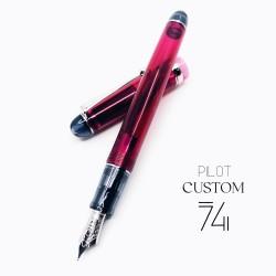 日本 PILOT 百樂 Custom 74 透明桿14K 鋼筆(酒紅)