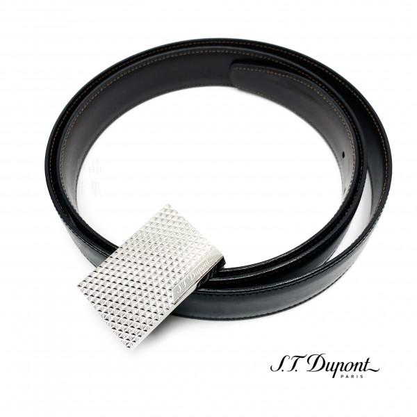 法國 S.T. DUPONT 都彭 火焰菱紋鈀金 商務雙面皮帶 8000120