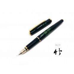 日本 PILOT 百樂 平蒔繪 14K金 鋼筆(竹)