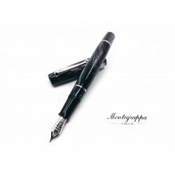 義大利 Montegrappa 萬特佳 全球限量80支 AMMIRAGLIO 1939 寫樂合作款 賽璐珞 18K 鋼筆(炭黑 Charcoal)