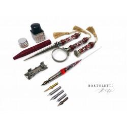 義大利 Bortoletti set26 沾水筆+筆擱+放大鏡+拆信刀+封印+封蠟+封蠟泥+墨水+筆尖組