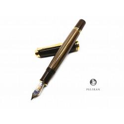 德國 Pelikan 百利金 18K金 M800 Brown Black 棕條金夾 鋼筆