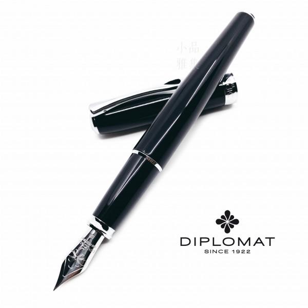 德國 DIPLOMAT 迪波曼 卓越A 琺瑯黑 白夾 鋼筆(拔蓋款)