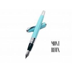 臺灣 MONTREUX 夢多 T7雕花 鋼筆(淺藍色)