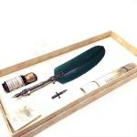 義大利 Bortoletti Set80 羽毛沾水筆+沾水筆尖+10ml沾水筆墨水一瓶 組合(綠色)