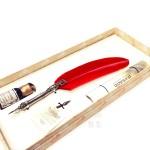 義大利 Bortoletti Set80 羽毛沾水筆+沾水筆尖+10ml沾水筆墨水一瓶 組合(紅色)