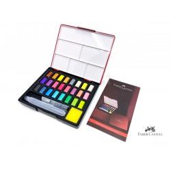 德國 Faber-Castell 輝柏 Solid Watercolours 攜帶型水彩塊套組 24色(金屬色系576027)