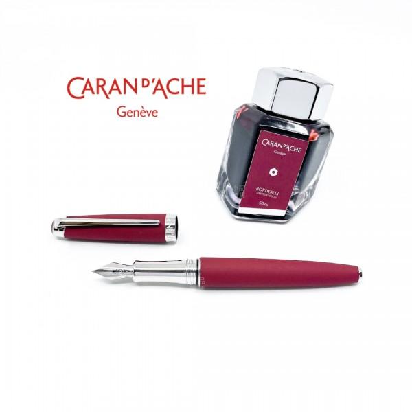 瑞士卡達Caran d'Ache Leman 利曼 18k金 鋼筆禮盒組(酒紅)