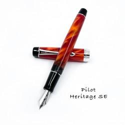 日本 PILOT 百樂 Custom Heritage SE 大理石紋 14K鋼筆 (橘紅)