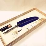 義大利 Bortoletti set80 羽毛沾水筆+沾水筆尖+沾水筆墨水一瓶 組合(blu深藍色羽毛款)