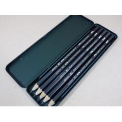 德國 Faber-Castell 輝柏 綠色鐵盒藝術專家級5支入水墨素描鉛筆 (117805)