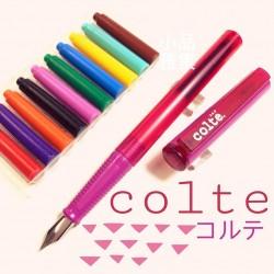 日本 COLTE 國民鋼筆+10色卡式墨水(桃紅色)