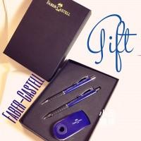 德國 Faber-Castell 輝柏 好舒寫 原子筆+0.5mm自動鉛筆+吊掛橡皮擦 超值禮盒組(藍色) 特價中!!