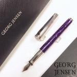 丹麥 GEORG JENSEN 喬治傑森 925純銀 頂級鱷魚皮 BESPOKE ALLIGATOR 鋼筆(紫)