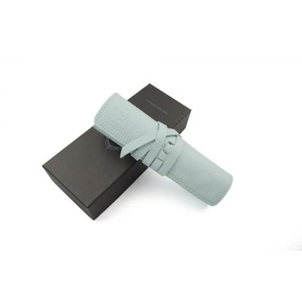 義大利 Manufactus 真皮 4支裝 筆袋(495AC水藍)